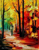 Fall alley oil painting on canvas by L.Afremov by Leonidafremov
