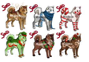 Shiba Inu Christmas pack 3 adoptables -CLOSED- by Kiibie-Adopt