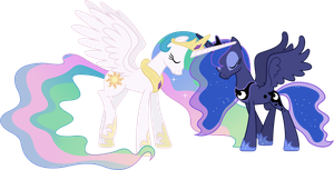 Celestia and Luna Touching Horns by 90Sigma