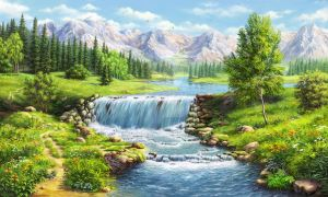 Landscape with waterfall by alfabell