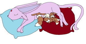 Mother Espeon and 4 Newborns by XfangheartX