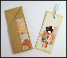 Bookmark-Japanese Doll-Light Blue cotton threads by SuniMam
