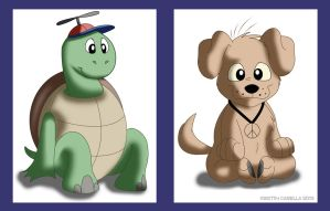 Turtle and Puppy designs by solitaryzombie
