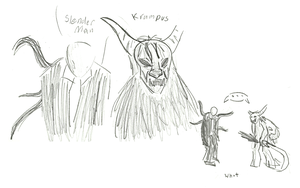 Slender man and Krampus Doodles by Alanna-MacKenzie