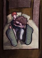 Ron and Hermione relaxing by HILLYMINNE