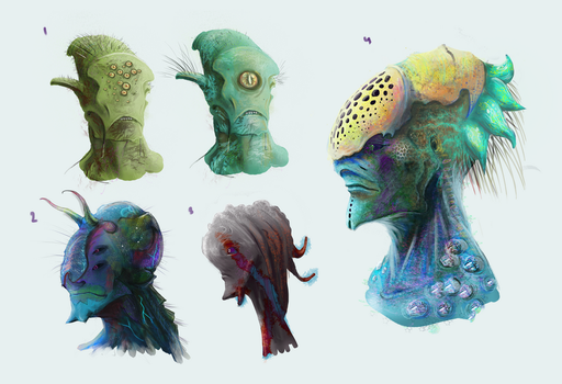 Alien heads by VookaSheen
