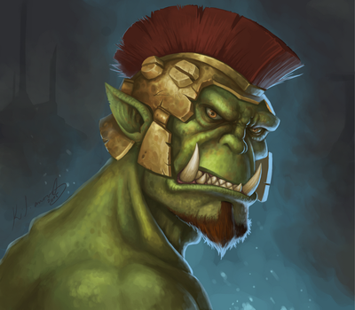 Orc Warrior Portrait by foxinsoxx