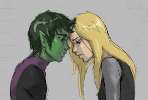 Beast boy and Terra by ab-lynx