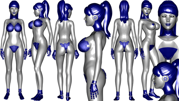 Blue simplified Gynoid ref sheet by NukuNookee