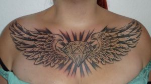 diamond and wings tattoo by D3adFrog