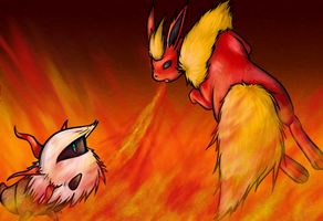 FlashFire: Larvesta vs Flareon by Sarelm