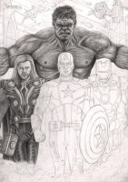 'The Avengers' WIP 45% by Pen-Tacular-Artist