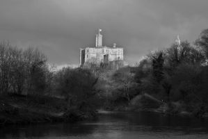 Warkworth Castle mono by newcastlemale
