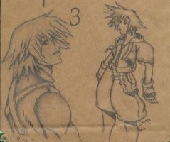 old Riku Sora sketch by dragonsketcher85