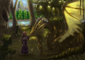 Girl And Forest Dragon by Bloodmoon1103