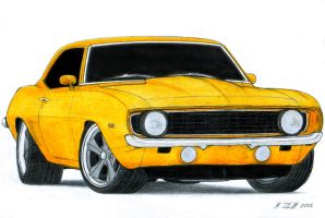 1969 Chevrolet Camaro SS Pro Touring Drawing by Vertualissimo