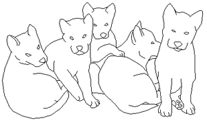 Husky Puppies lineart1 by foxy989