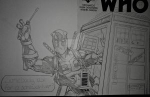 Deadpool Dr Who sketch cover WIP by steelcitycustomart