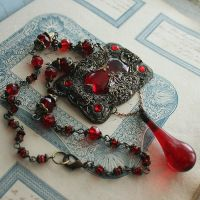 Red Glass Assemblage Necklace by asunder