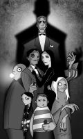 The Addams Family B and W by Balsavor