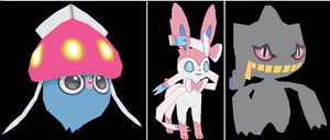 inkay sylveon banette papercraft by javierini