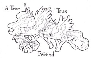 A True True Friend, Celestia Luna Twilight by FoldawayWings
