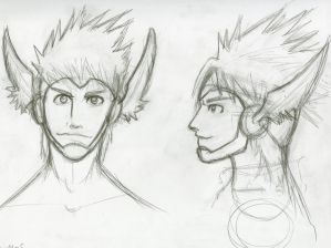 penciled hermes head design