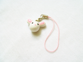 Cute White Bunny Charm by MariposaMiniatures