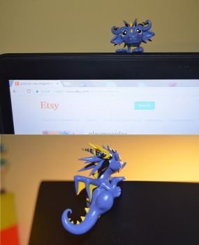 Blue Dragon that can be attached to laptop by claymeeples