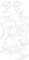 Angelic Sketch Dump by WhiteFoxCub
