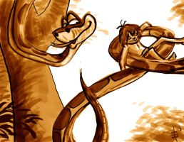 Daily Sketch Challenge - Kaa the Snake by leapingloophead