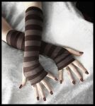 Wood Nymph Striped Arm Warmers by ZenAndCoffee