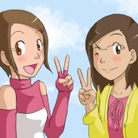 Art Trade: Hikari and Momoe by an-angels-tears