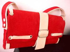 Red leather mini shoulder bag by rekcorlovexanna