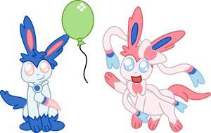 Sylveon Male And Female by Death-of-all