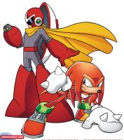Crossover Promo Art - Knuckles and Protoman by sonicfan1987