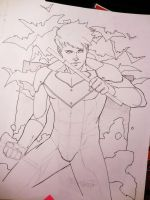 Nightwing wip commission doodle by aethibert