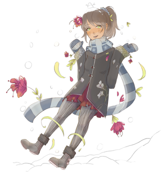 Flowers and Snow by taptothebeat