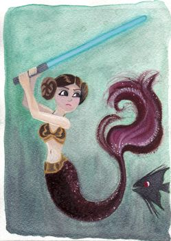 May The Fourth Mermaid {Gouache Painting} by LaRenaissanceGirl