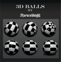 3D black white balls by starscoldnight by StarsColdNight