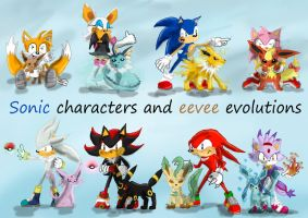 sonic characters and eevee evolutions by shadowlovesrouge