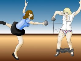 fencing girls -Commission- by misspants12