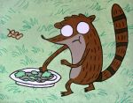 Soulless Rigby Eating Salad by lifeinacemetery
