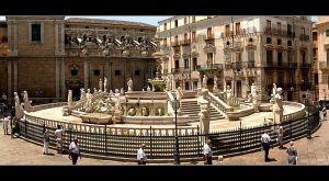 4 Clones And The Fountain In Palermo - Panorama by skarzynscy
