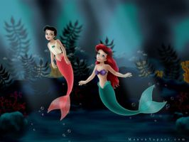 Ariel and Melody as Mermaids by manony
