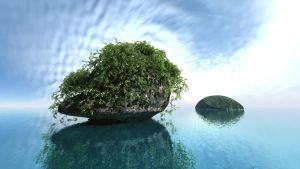 A toadstool shaped island by davidbrinnen