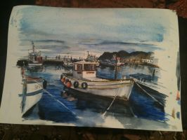 boat in harbour by 8025glome