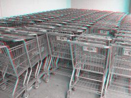 Shopping Carts Anaglyph by Temphis