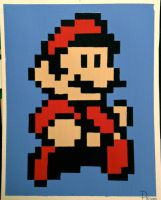 Mario large pixel painting by RubiksPhoenix