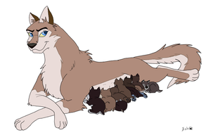Aleu and Niju's litter of 10 by Supatsu